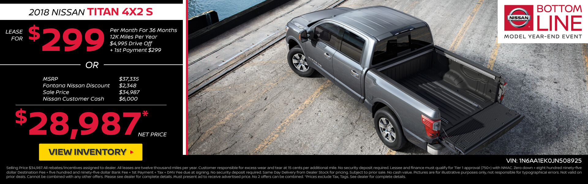 Nissan Titan $299 Lease or $28,987 Purchase