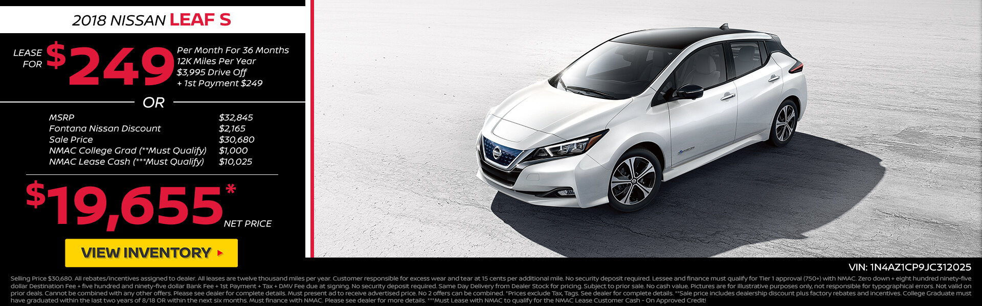 Nissan Leaf $249 Lease or $19,655 Purchase