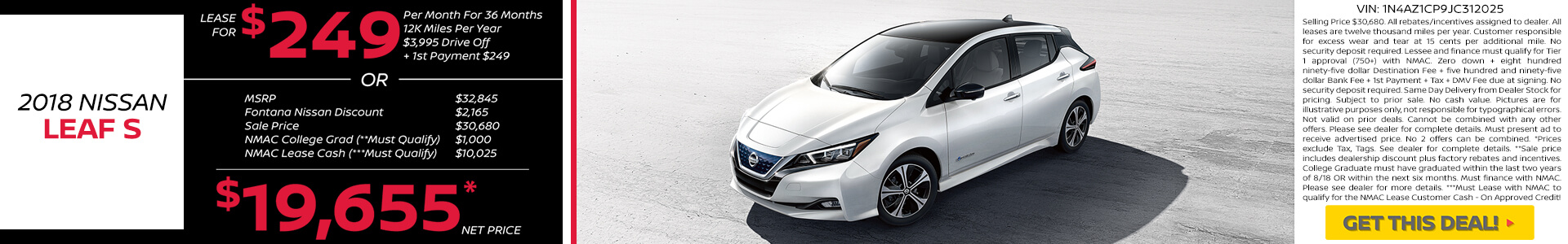 Nissan Leaf $249 Lease and $19,655 Purchase
