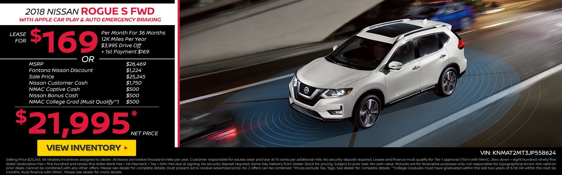 Nissan Rogue $169 Lease or $21,995 Purchase