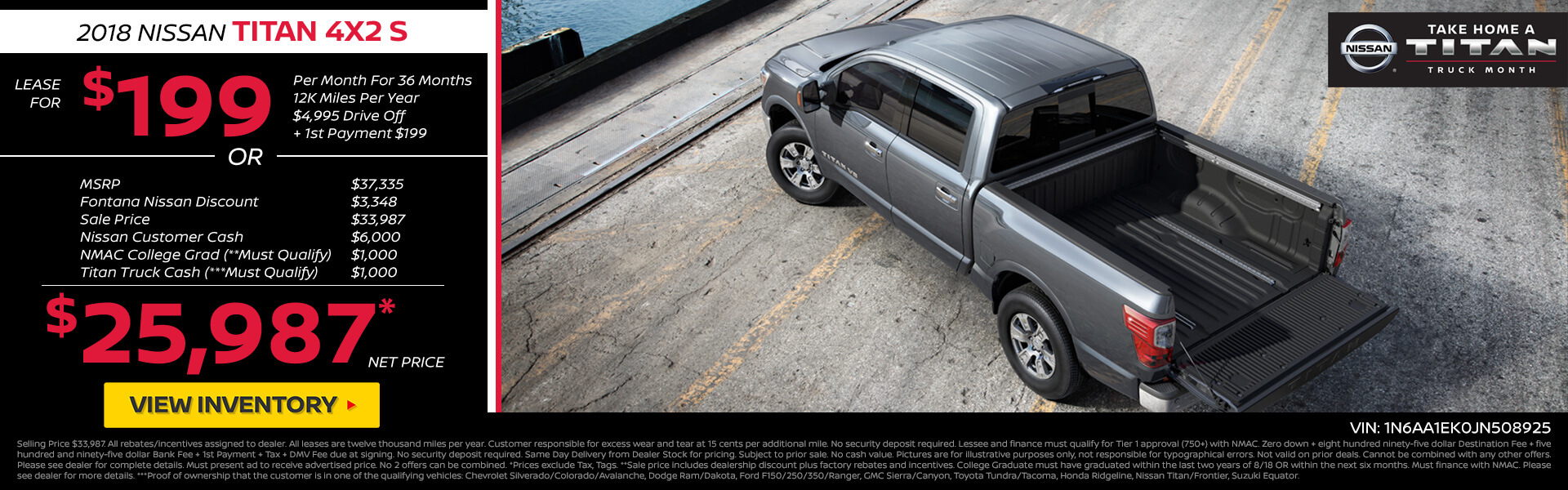 Nissan Titan $199 Lease or $25,987 Purchase