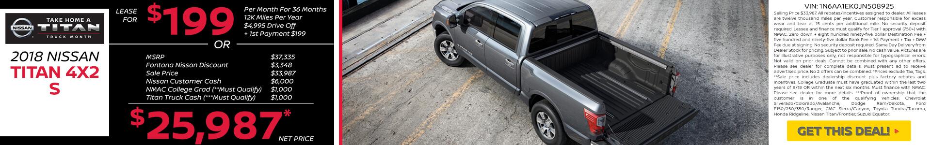 Nissan Titan $199 Lease $25,987 Purchase