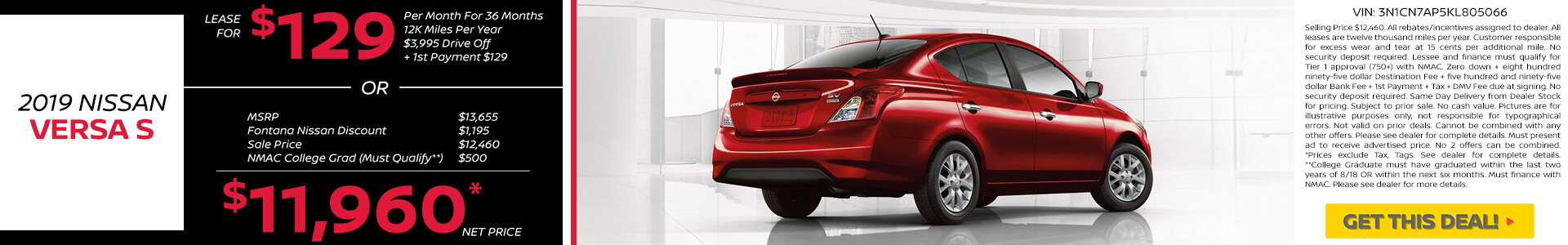 Nissan Versa $129 Lease or $11,960 Purchase