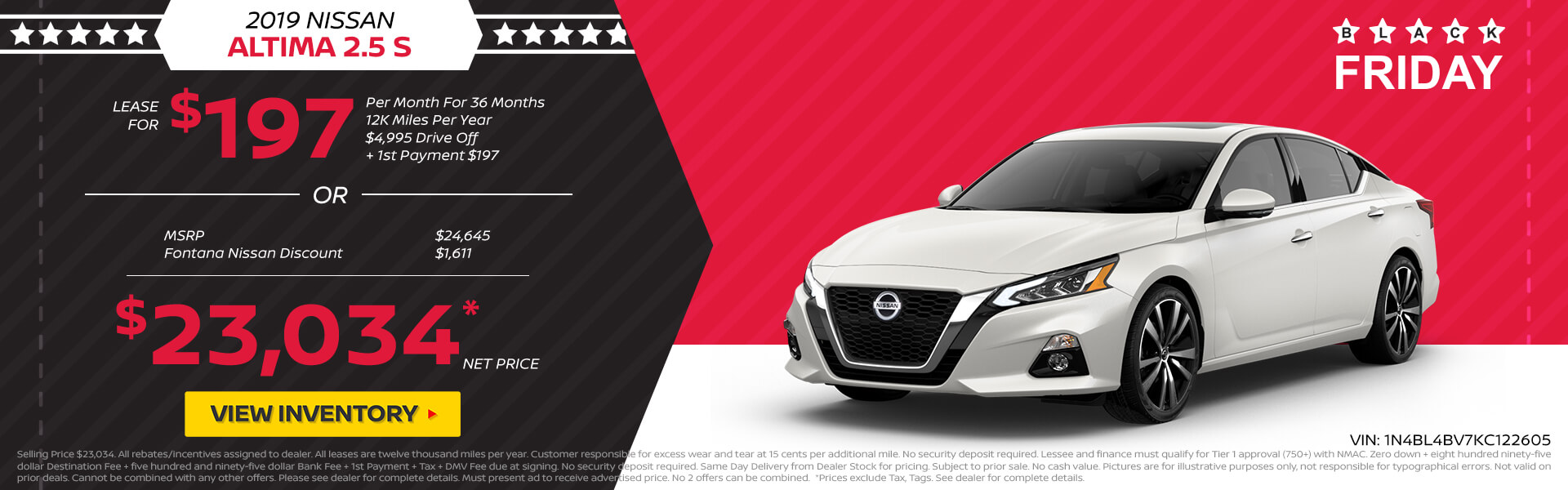 Nissan Altima $197 Lease