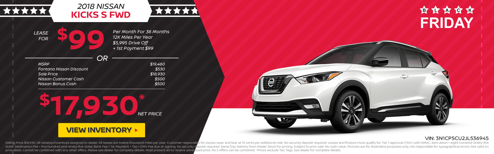 Nissan Kicks $99 Lease or $17,930 Purchase