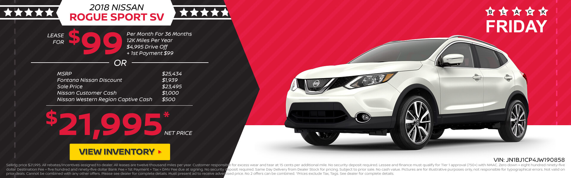 Nissan Rogue Sport $99 Lease or $21,995 Purchase