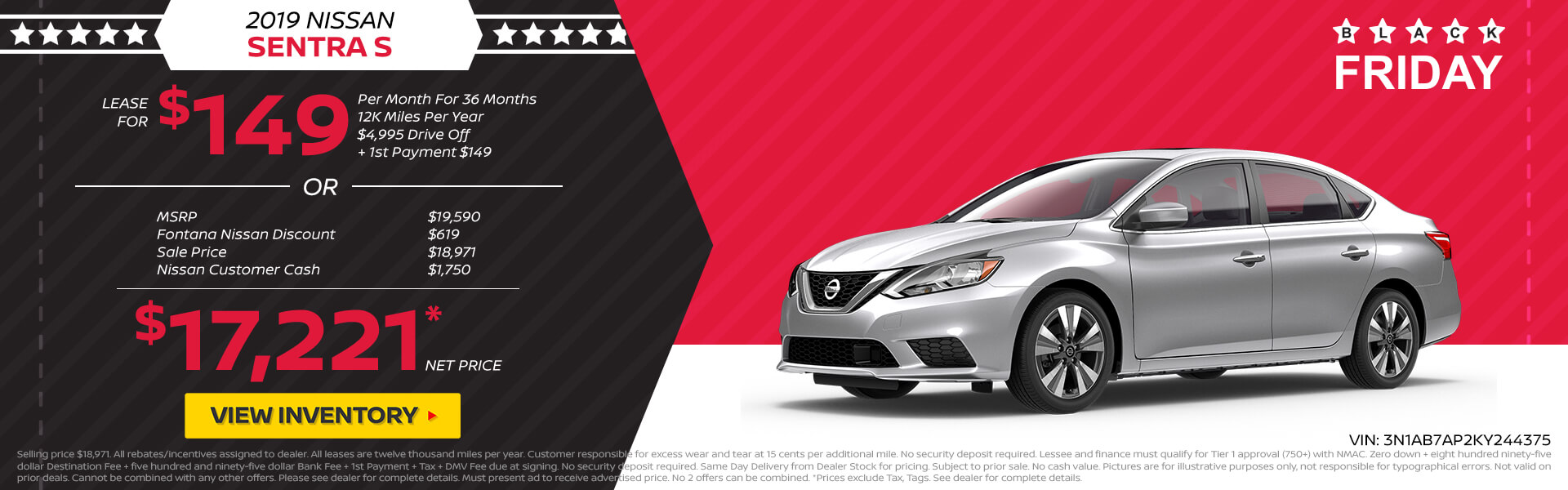 Nissan Sentra $149 Lease or $17,221 Purchase