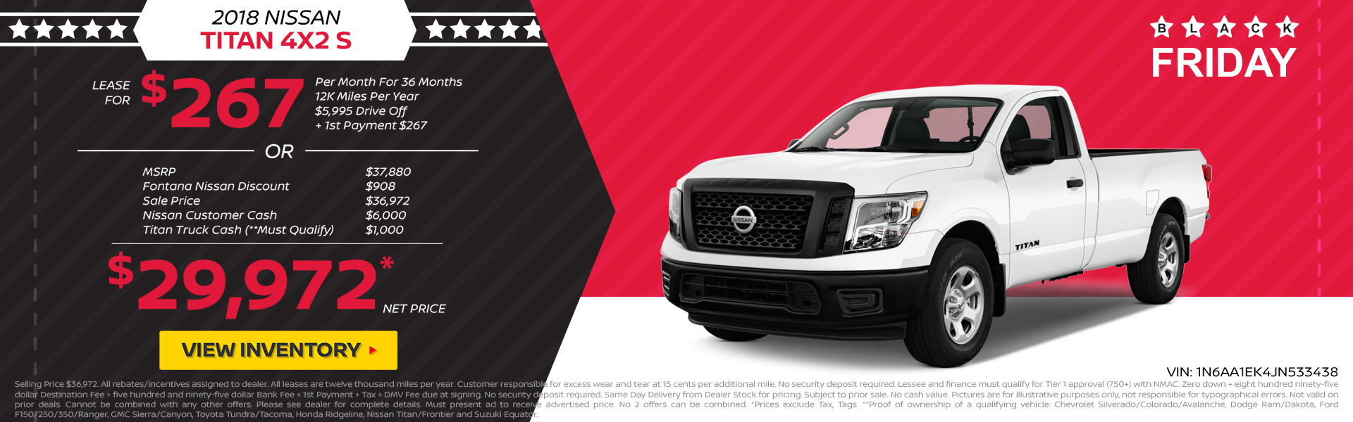 Nissan Titan $267 Lease or $30,972 Purchase