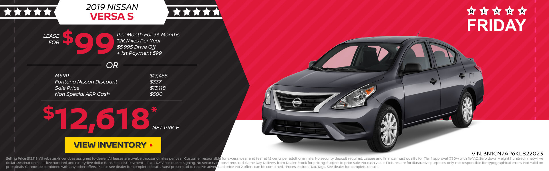 Nissan Versa $99 Lease or $12,618 Purchase