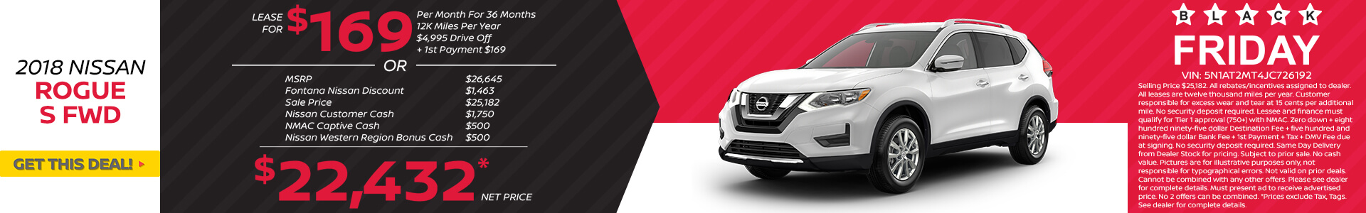 Nissan Rogue $169 Lease or $22,432 Purchase