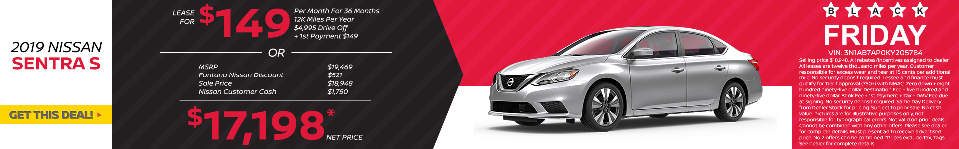 Nissan Sentra $149 Lease or $17,198 Purchase