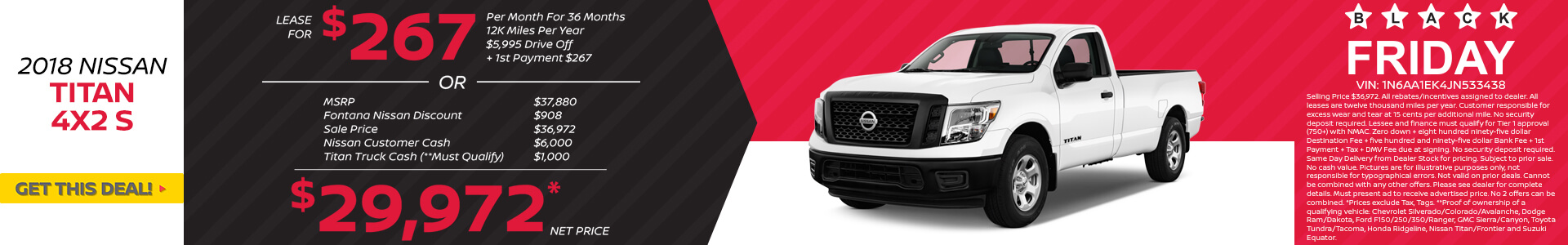 Nissan Titan $267 Lease $29,972 Purchase