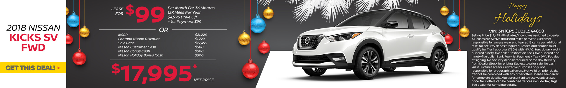 Nissan Kicks $99 Lease or $17,995 Lease