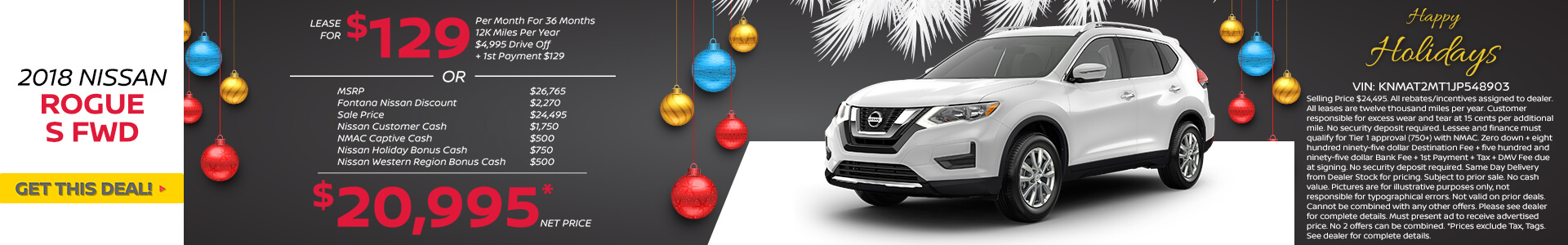 Nissan Rogue $129 Lease or $20,995 Purchase