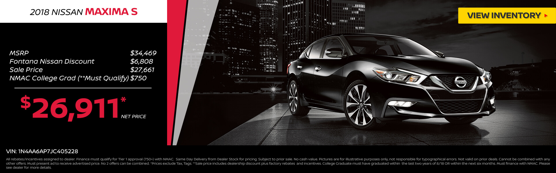 Nissan Maxima $26,991 Purchase