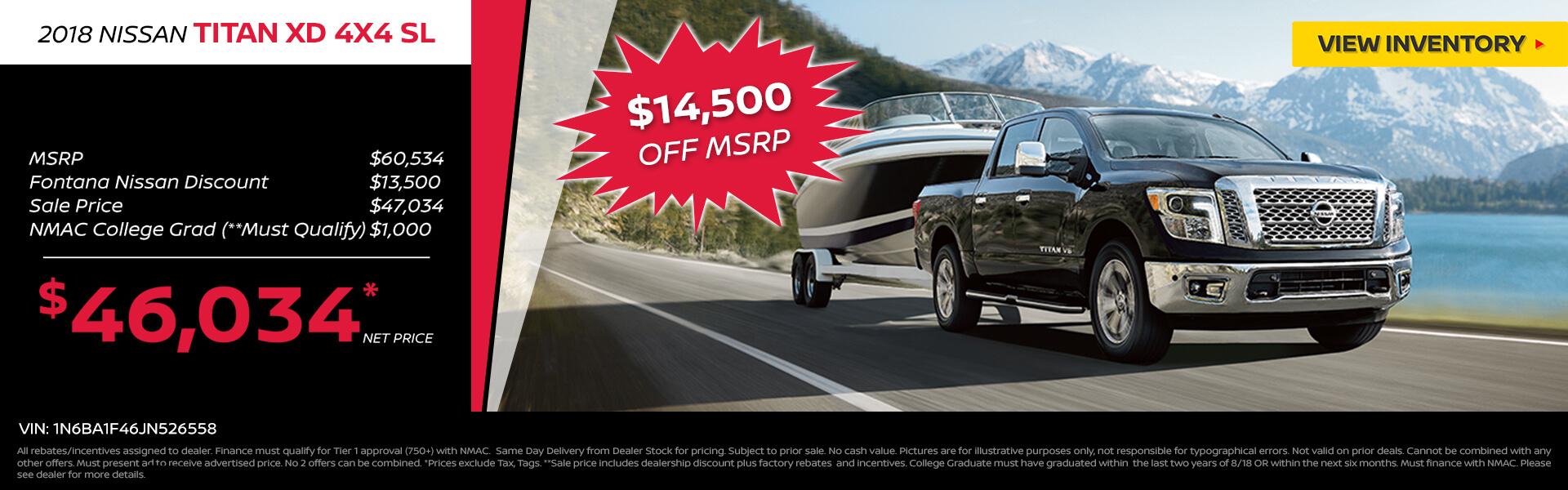 Nissan Titan XD 4x4 SL $14,500 Off MSRP