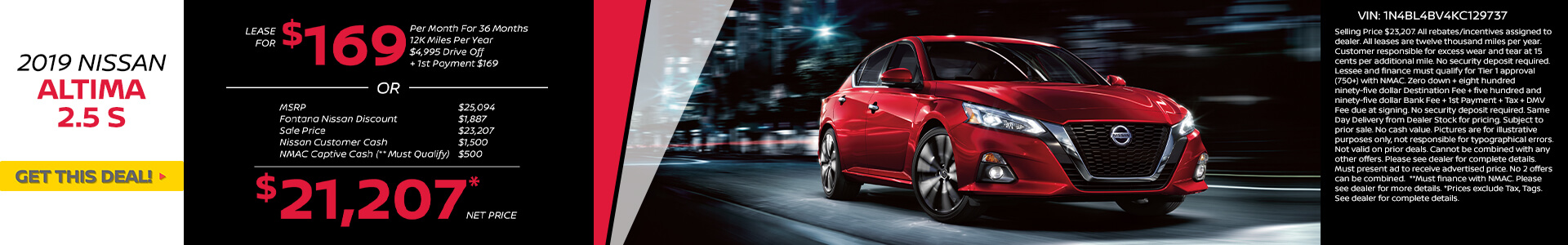 Nissan Altima $169 Lease