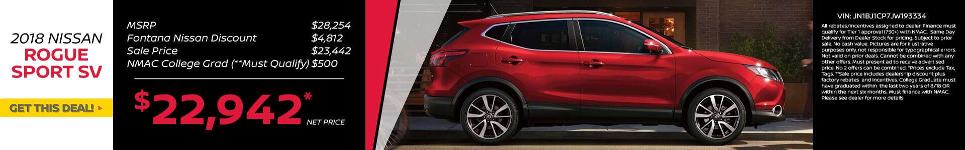 Nissan Rogue Sport $22,942 Purchase