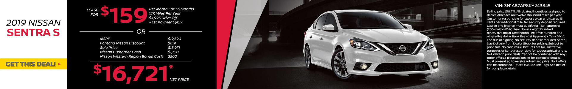 Nissan Sentra $159 Lease
