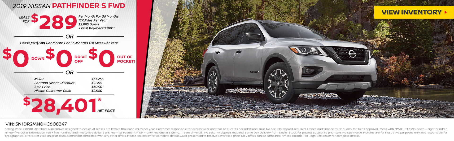 Nissan Pathfinder $389 Lease