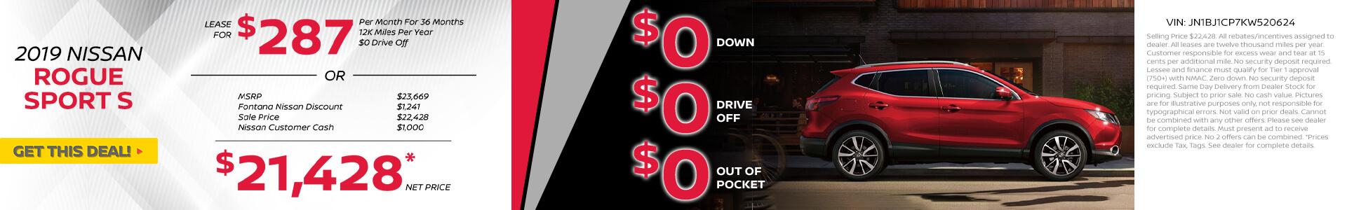 Nissan Rogue Sport $287 Lease