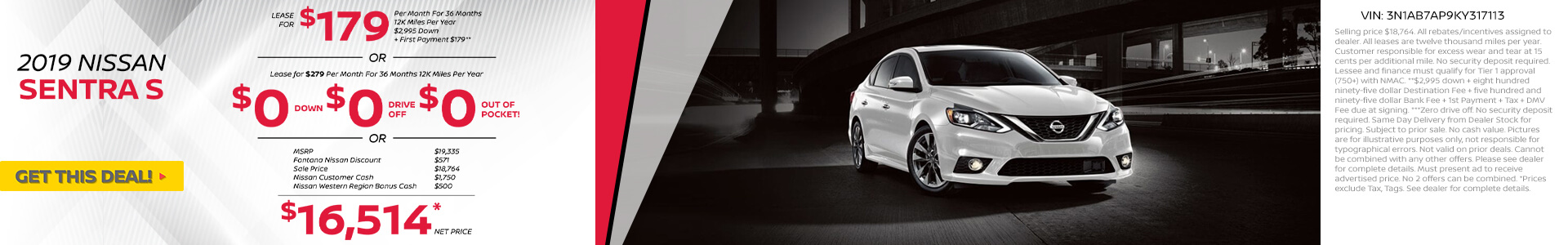 Nissan Sentra $279 Lease