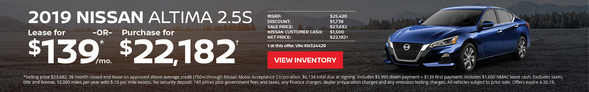 Nissan Altima $139 Lease