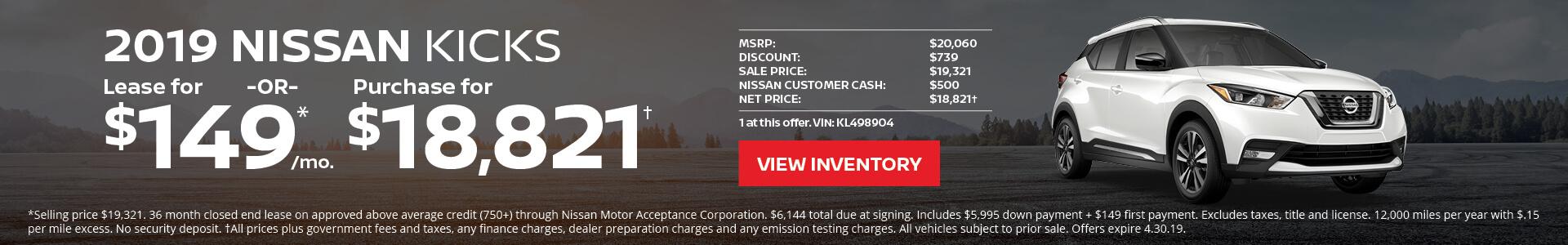 Nissan Kicks $149 Lease