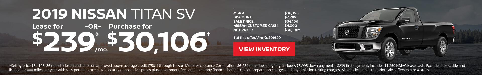 Nissan Titan $239 Lease