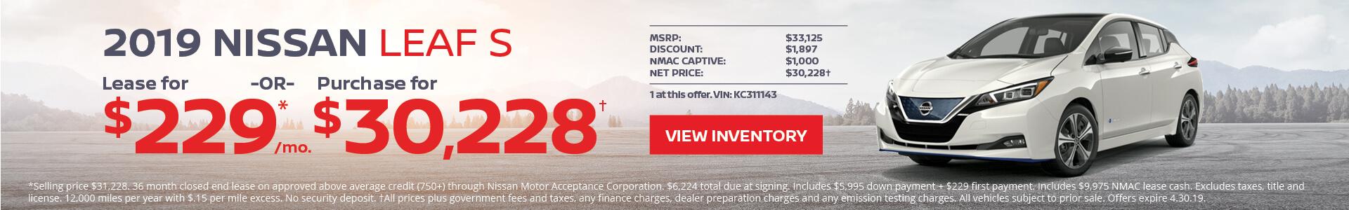 Nissan Leaf $229 Lease