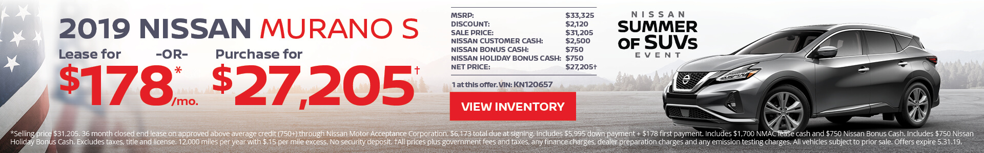 Nissan Murano $178 Lease