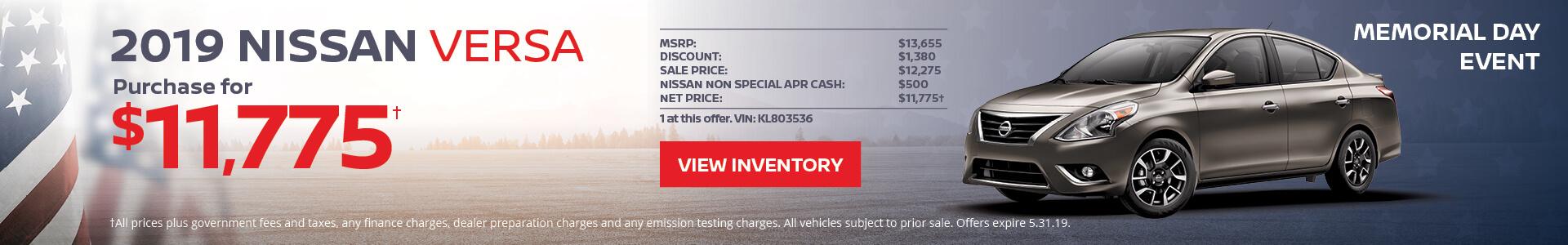 Nissan Versa $11,775 Purchase