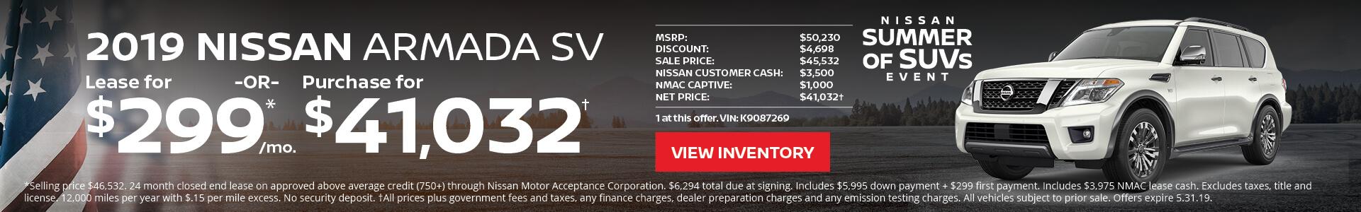 Nissan Armanda $299 Lease