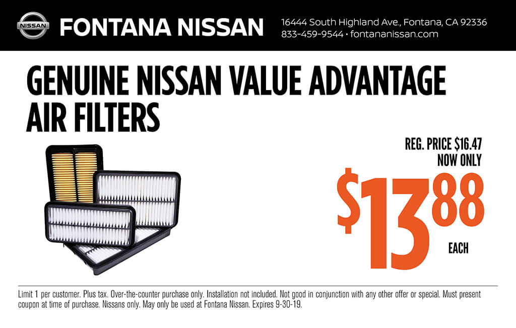 Parts Specials Available Now on Genuine Nissan Parts at Fontana