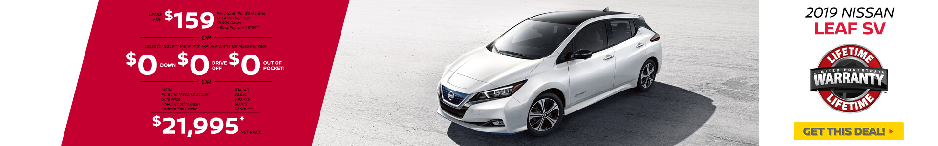 Nissan Leaf $159 Lease