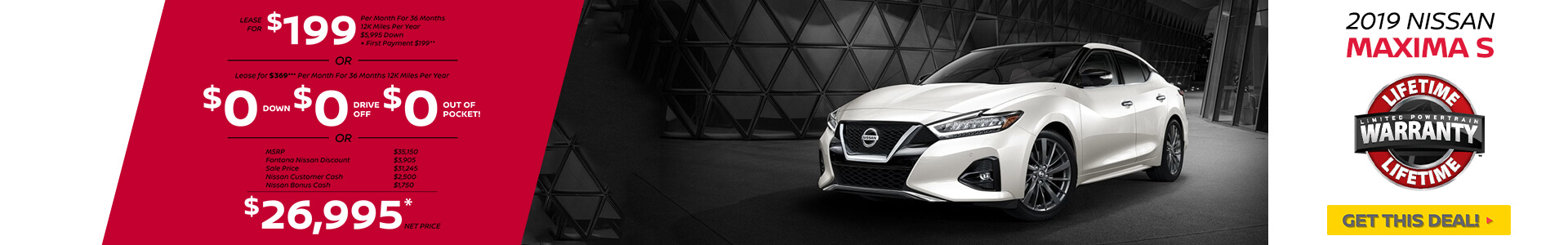 Nissan Maxima $199 Lease