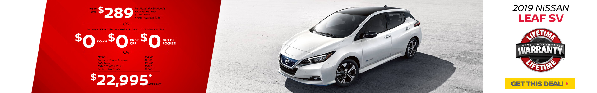 Nissan Leaf $289 Lease