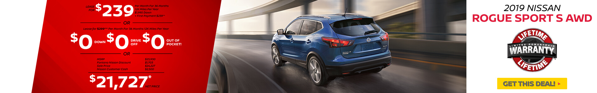 Nissan Rogue Sport $239 Lease