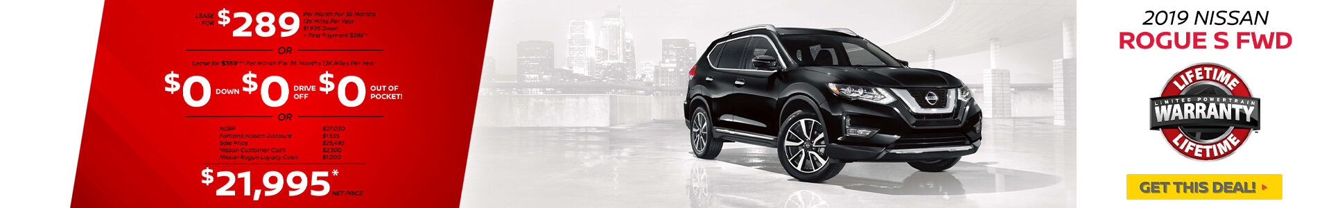 Nissan Rogue $289 Lease
