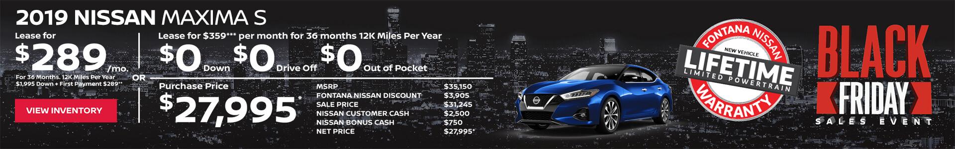 Nissan Maxima $289 Lease