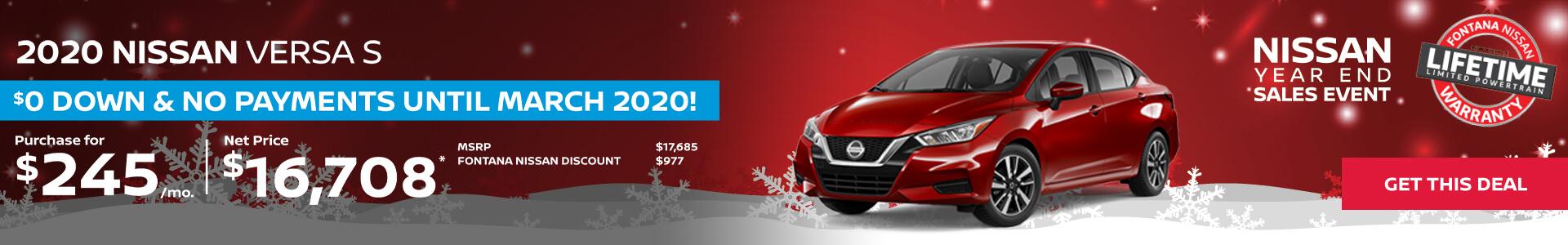 Nissan Versa $245