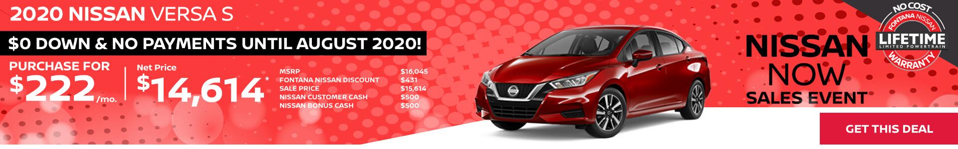 Nissan Versa $222