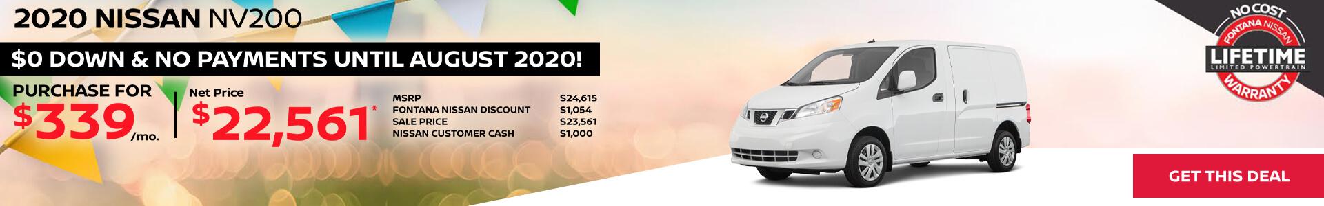 Nissan NV200 $339