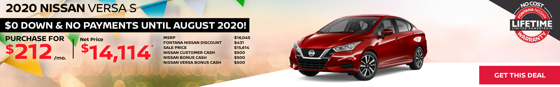 Nissan Versa $212