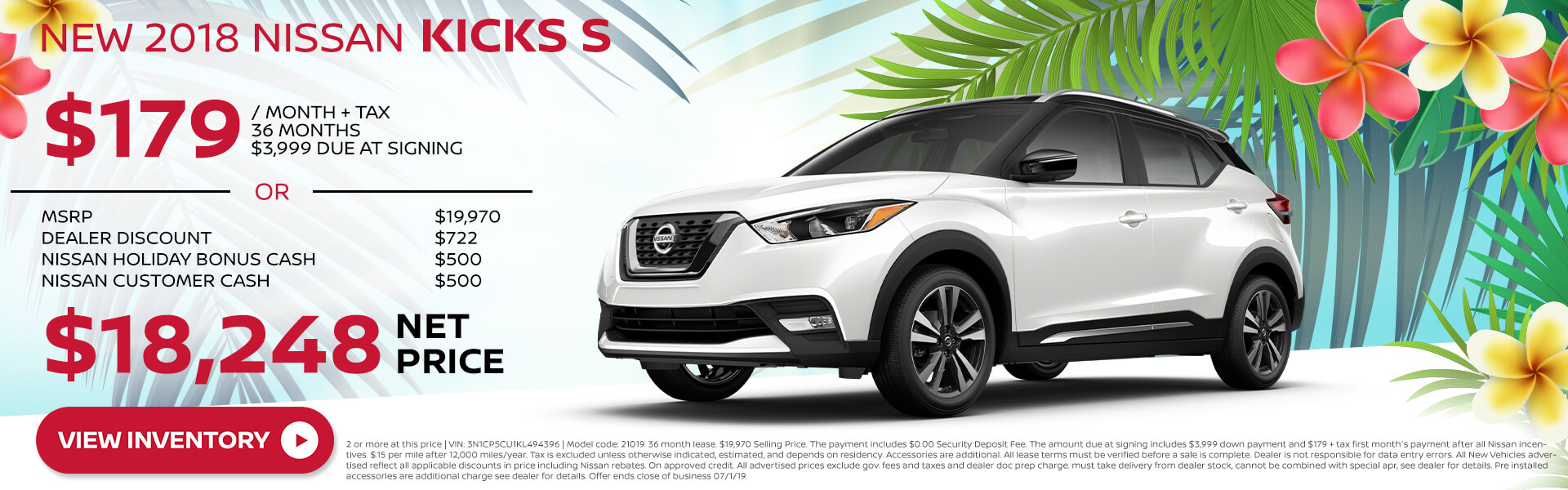 2018 Nissan Kicks - Lease for $179