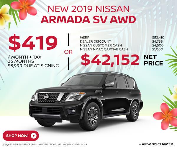 2019 Nissan Armada - Lease for $419