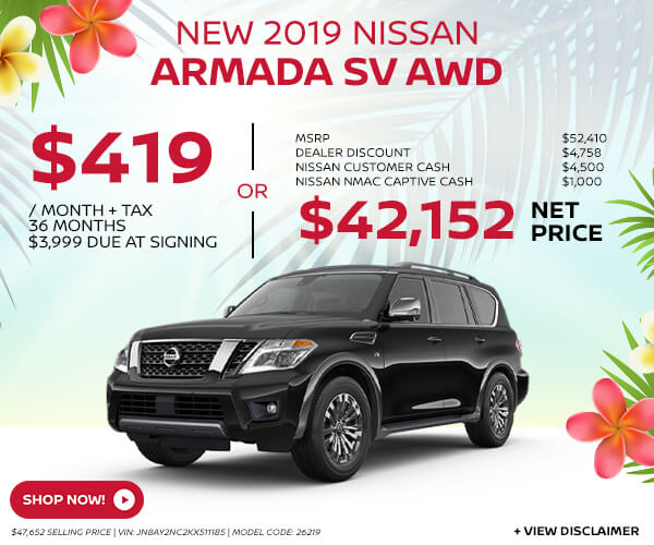 2019 Nissan Armada - Lease for $419