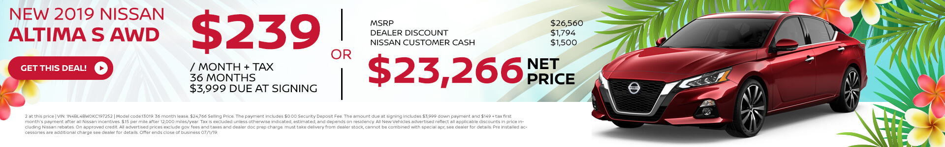 2019 Nissan Altima - Lease for $239