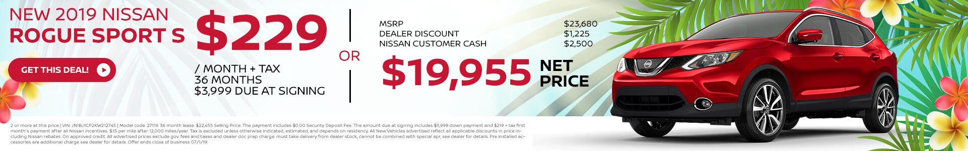 2019 Nissan Rogue Sport - Lease for $219
