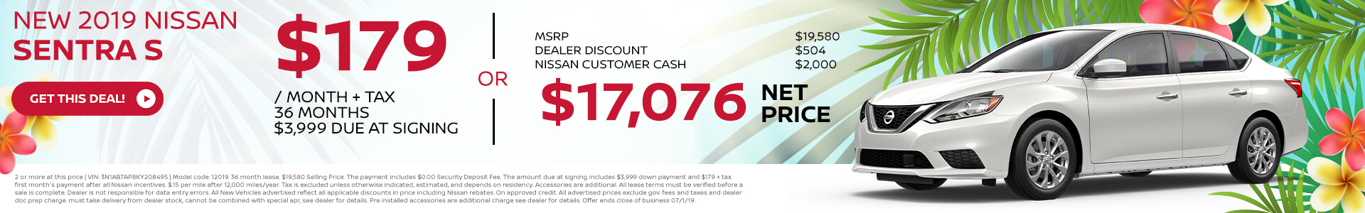 2019 Nissan Sentra Lease for $179